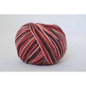 Příze Jeans Color - červeno - hnědo - krémová batikovaná