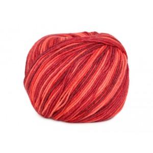 Příze Jeans Color - červeno - oranžová batikovaná
