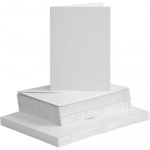 Polotovar na přání s obálkou, 10 ks, bílá, 15 x 15 cm