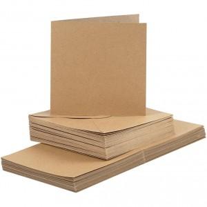 Polotovar na přání s obálkou, 10 ks, přírodní
