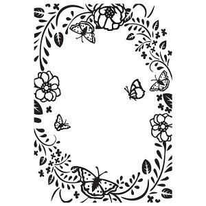 Embosovací šablona - Rámeček z květin a motýlů