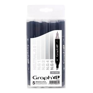 Graph'it Set alkohových popisovačů, 5ks - Grey tones