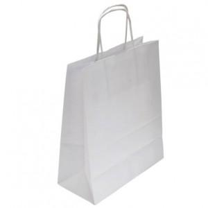Taška papírová, bílá, kroucené ucho, 54x14x50