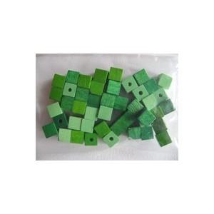Dřevěné korálky - kostičky, 6 mm, zelená směs