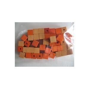 Dřevěné korálky - kostičky, 6 mm, oranžová směs