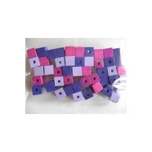 Dřevěné korálky - kostičky, 6 mm, růžovo-fialová směs