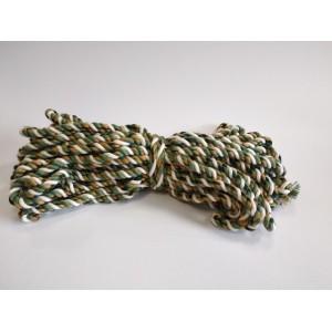 Bavlněná šňůra 15m, bavlna přírodní se zelenou a zlatou