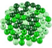 Dřevěné korálky - barevný mix (zelené)
