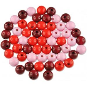 Dřevěné korálky - barevný mix (červené)