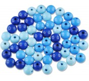 Dřevěné korálky - barevný mix (modré)