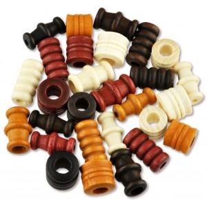 Dřevěné korálky tvarové - mix (přírodní)