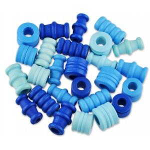 Dřevěné korálky tvarové - mix (modré)