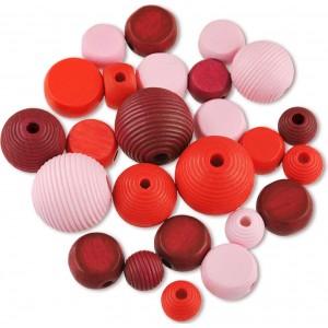Dřevěné korálky tvarové - mix (červené)