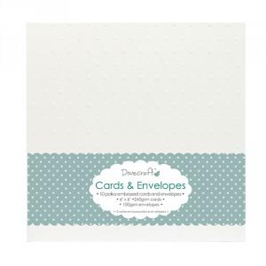 Přání s obálkou 15,2 x 15,2 cm, bílá s embosovanými puntíky