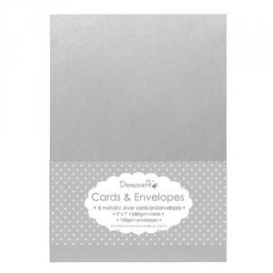 Přání s obálkou 18,4 x 13,4 cm, stříbrné metalické