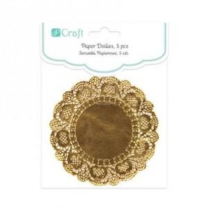 Dekorace - papírová krajka, 5 ks - zlatá
