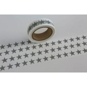 Dekorační lepicí páska Washi - Bílá s šedými hvězdami