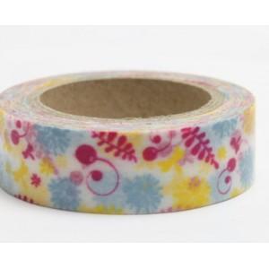 Dekorační lepicí páska Washi - polní kvítí červené, modré, žluté
