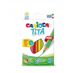 Šestihranné školní nelámavé pastelky Tita Maxi 12 ks