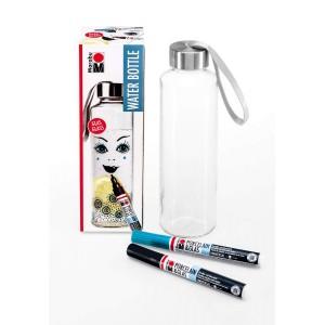 Sada skleněná lahev na vodu k dekoraci + 2 popisovače