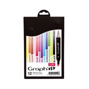 Graph'it Set alkohových popisovačů, 12ks - Classic Colors