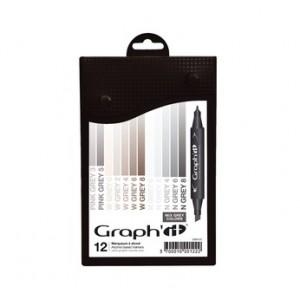 Graph'it Set alkohových popisovačů, 12ks - Mix Greys
