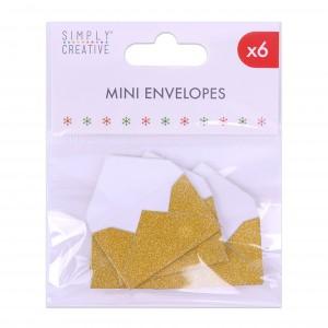 Mini obálky k nalepení, glitrové, 6ks - zlaté