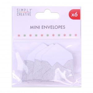 Mini obálky k nalepení, glitrové, 6ks - stříbrné