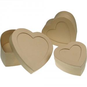 Set kartonové krabičky - srdce, 3ks