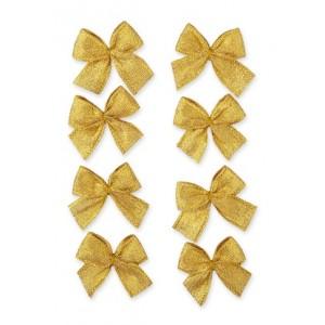 Dekorační mašličky samolepicí, zlatá, 8ks