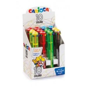 Carioca vysouvací propiska 10 barev v jednom, 12 ks