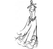 Dřevěné razítko svatební šaty