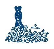 Vyřezávací krajková šablona - Šaty s vlečkou