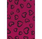 Filc s 3D vzorem 30,5 x 22,9 cm, tl. 1 mm - sytě růžová s černými srdci
