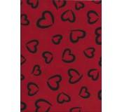Filc s 3D vzorem 30,5 x 22,9 cm, tl. 1 mm - červená s černými srdci