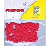 Pompony mini 3mm, 100ks, jasně červená