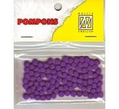 Pompony mini 3mm, 100ks, tm.fialová