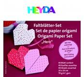 Papíry na origami 15 x 15 cm, srdce, 40 listů