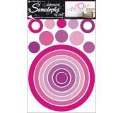 Samolepka na zeď - růžové kruhy