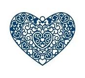 Vyřezávací krajková šablona –  Srdce