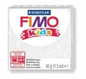 Fimo kids modelovací hmota 42 g - bílá se třpytkami