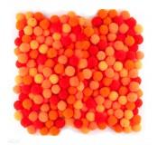 Dekorační pompony 10  mm, 120 ks, oranžový mix