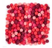 Dekorační pompony 10  mm, 120 ks, červený mix