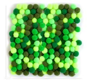 Dekorační pompony 10 mm, 120 ks, zelený mix