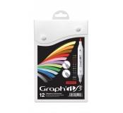 Graph'it brush set oboustranných popisovačů, 12 ks - Essential