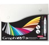 Graph'it brush set oboustranných popisovačů, 24 ks - Essential