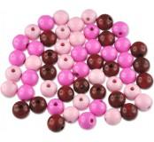 Dřevěné korálky - barevný mix (růžové)