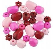 Dřevěné korálky tvarové - mix (růžové)