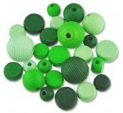 Dřevěné korálky tvarové - mix (zelené)