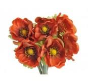 Květ Anemon, oranžová tmavá, 1ks